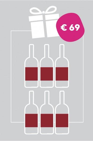 Überraschung Rot = 6 Flaschen Rotwein der teilnehmenden Betriebe