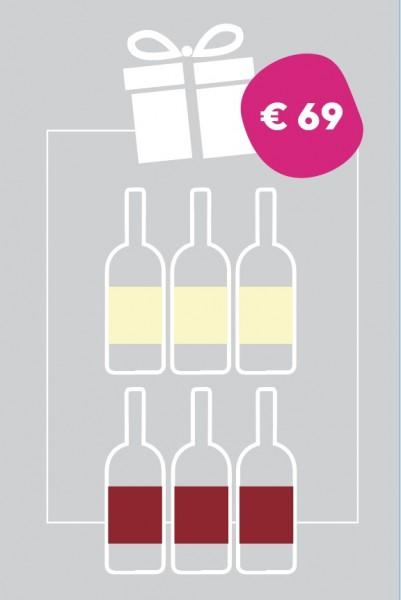 Überraschung Bunt = 6 Flaschen gemischt Rot- und Weißwein